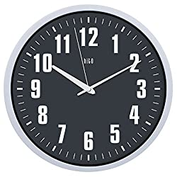 hito Silent Wall Clock Non Ticking 12 inch Excellent Accurate Sweep Movement, Modern Decorative for Kitchen, Living Room, Bathroom, Bedroom, Office (Gray White Hand)