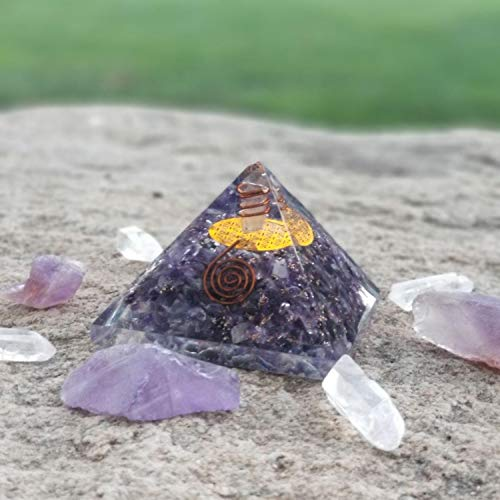 Aatm Energy Generator Amethyst Flat Orgone for EMF Protection Chakra Healing Meditation with Copper Stone of Spirituality /& Peace