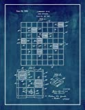 Scrabble Game Patent Print Midnight Blue with Border (11' x 14') M10304