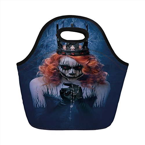 Neoprene Lunch Bag,Queen,Queen of Death Scary Body Art Halloween Evil Face Bizarre Make Up Zombie,Navy Blue Orange Black,for Kids Adult Thermal Insulated Tote Bags