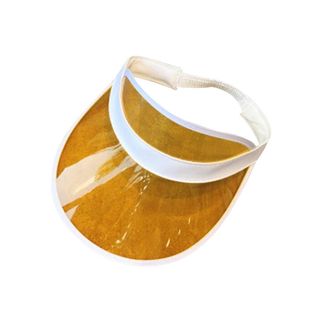 osfanersty Mujeres Hombres PVC Transparente Sombrero De Pl/ástico Sombrilla Congelado Dulce Color De Caramelo Vac/ío Abierto Arriba Deportes Playa Visera Cap Cap Correa Volver