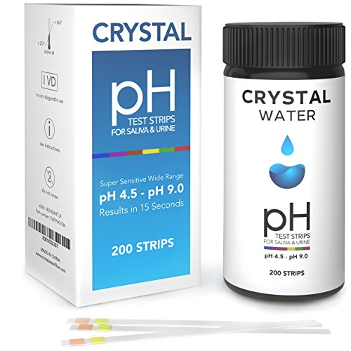 Acid Test Kit (200ct PACK - CRYSTAL pH Test Strips for Urine and Saliva - pH Test Kit - Reagent Test strips for your Alkaline and Acid level Balance Your Bodies pH For Health and Diet)