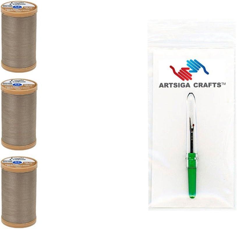 3-Pack Dark Orange Bundle with 1 Artsiga Crafts Seam Ripper S975-7760-3P Coats /& Clark Sewing Thread Machine Quilting Pure Egyptian Cotton Thread 350 Yards