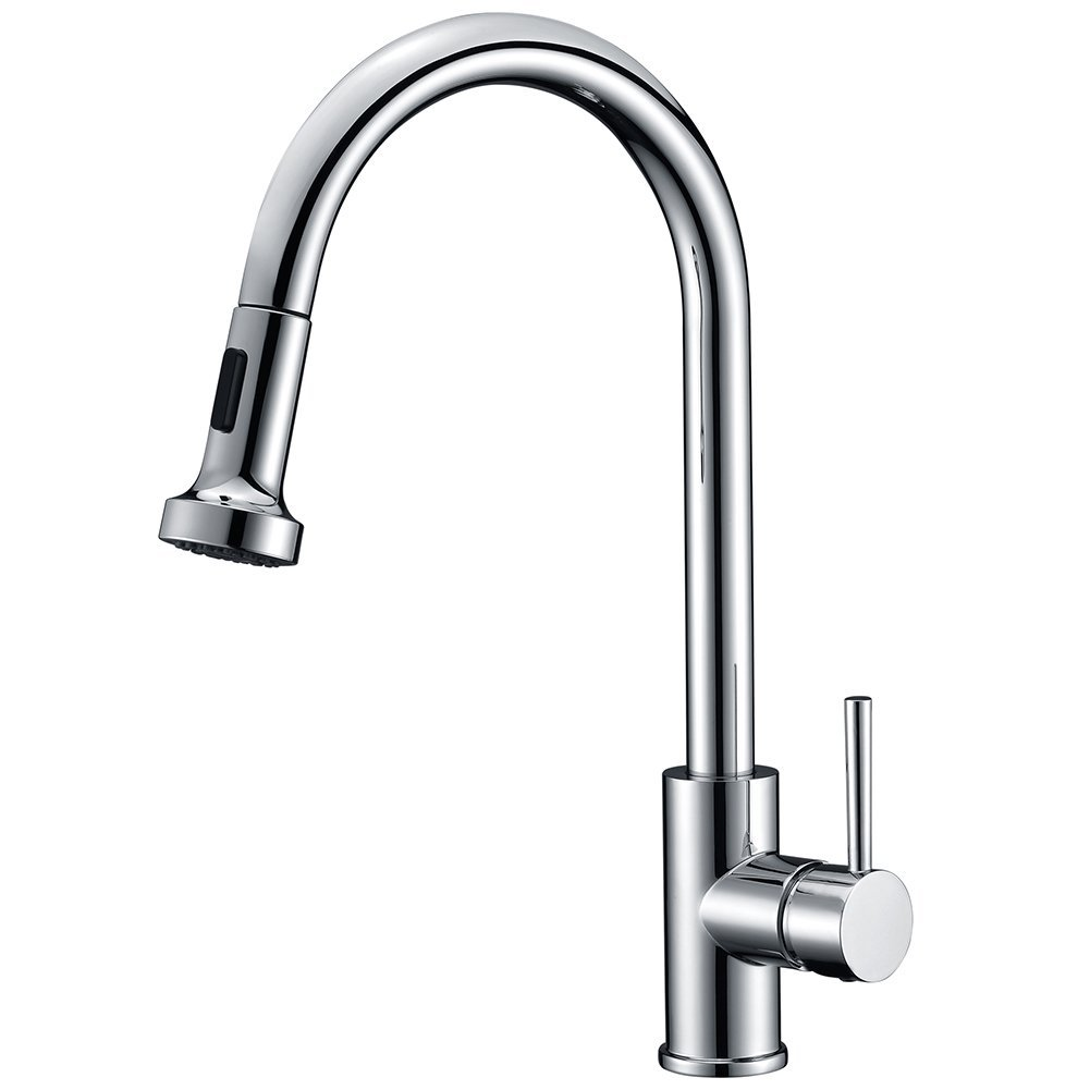 Avola Pull Out Kitchen Tap Single Lever Handle Kitchen Sink Mixer Tap Swivel Spout Dual Functional Sprayer, Chrome HUASONG
