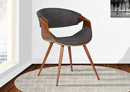 Armen Living  Butterfly Dining Chair in Charcoal Fabric and Walnut Wood Finish - Mid-century Modern Butterfly Dining Chair Walnut wood finish Available in Blue, Charcoal or Green Fabrics - kitchen-dining-room-furniture, kitchen-dining-room, kitchen-dining-room-chairs - 5195Kg9XWxL -