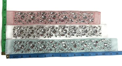 (1 Piece, Bedazzled Rhinestone Sash Belt Applique Hand Embroidery on Mesh, Pageant, Bridal, White, 13.5