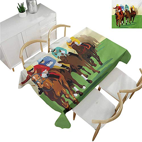 familytaste Horse,Oblong Tablecloth,Vibrant Colorful Competitive Scene with Jockeys Racing Horses Equine Retro Artwork,Table Cloth Home Decoration 60