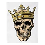iPrint Satin Rectangular Tablecloth [ King,Dead Skull Skeleton Head with Royal Holy Crown Tiara Hand Drawn Image,Golden and Light Brown ] Dining Room Kitchen Table Cloth Cover