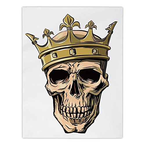 iPrint Satin Rectangular Tablecloth [ King,Dead Skull Skeleton Head with Royal Holy Crown Tiara Hand Drawn Image,Golden and Light Brown ] Dining Room Kitchen Table Cloth Cover by iPrint