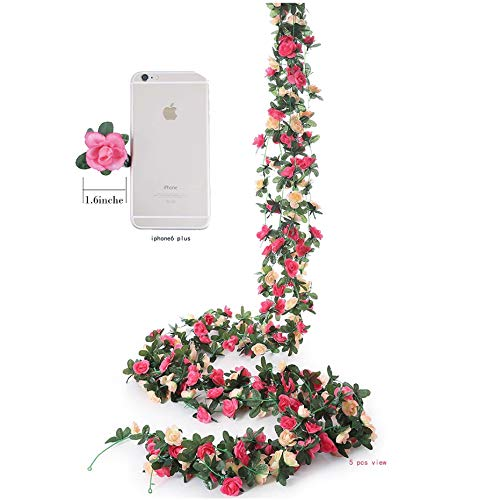 Meiliy 4 Pcs 8.2 FT Fake Rose Vine Flowers Plants Artificial Flower Garland Home Hotel Office Wedding Party Garden Craft Art Decor, Pink