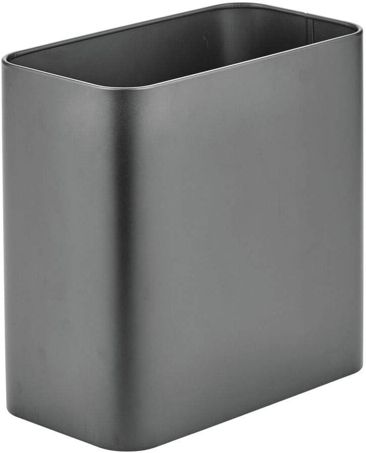 Cubo de Basura de Metal Amarillo Claro mDesign Papelera de Oficina Rectangular Papelera met/álica compacta para ba/ño Cocina u Oficina con Espacio Suficiente para residuos