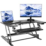 "VIVO Black Electric Height Adjustable 36"" Stand up Desk Converter and Keyboard Tray 