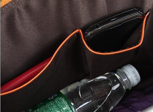 Wood Grain Embossed Shoulder Tote Bag 100% Genuine Leather Office Lady Favor Shell Handbag (Orange)