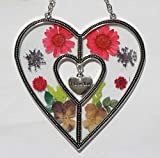 Tiffany Lamp & Gift Factory Saint Valentine`s Day Love Heart Love Suncatcher with Pressed Flower Heart - Heart Suncatcher - Love Gifts Gift for Love's Day