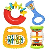 Gift Boutique 4 Piece Baby Band - Musical Instrument Toys Rattle Rainmaker Shaker Clip Clap & Music Ring for Infants Babies Toddlers Little Kids & Children
