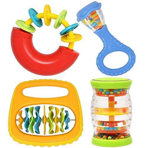 4 Piece Baby Instruments Band Set Musical Toys for Infant Babies Toddler Kids Includes Mini Rainbow Shaker, Baby Maracas Rattle, Baby Clip Clap and Musical Ring Safe from Ages 3 Months and Up