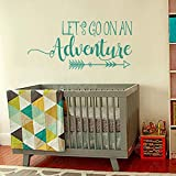 BATTOO Lets Go On An Adventure Wall Decal Quote - Travel Theme Nursery Wall Decal- Travel Nursery Decor- Adventure Vinyl Wall Decal Stickers(teal, 40''WX18.6''H)