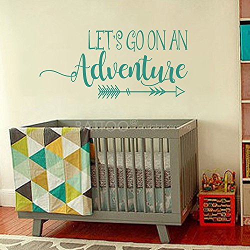 BATTOO Lets Go On An Adventure Wall Decal Quote - Travel Theme Nursery Wall Decal- Travel Nursery Decor- Adventure Vinyl Wall Decal Stickers(teal, 40''WX18.6''H) by BATTOO