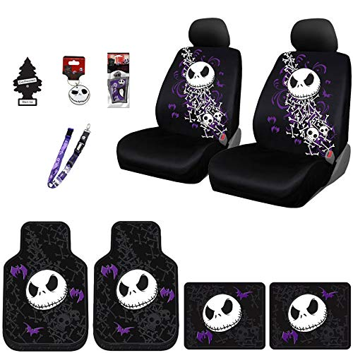Yupbizauto New 12 Pieces Nightmare Before Christmas Jack Skellington Car Truck SUV Seat Covers Floor Mat Set with Little Tree Air Freshener (Covers Nightmare Before Seat Christmas)