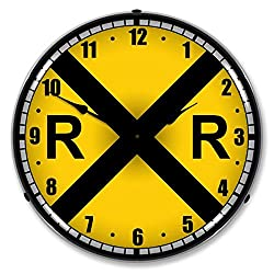 Colorful Railroad Crossing Lighted Wall Clock