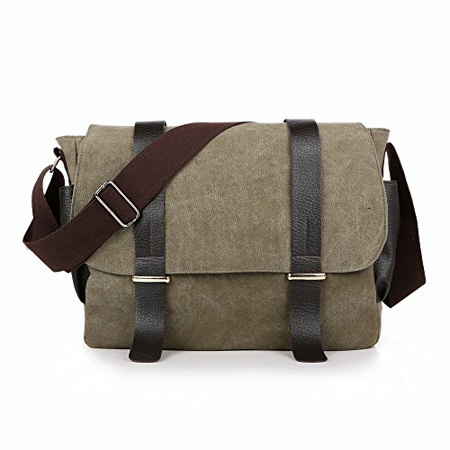 Canvas Casual Crossbody Work color Purse Wenjack Business Shoulder Messenger Unisex Men's Coffee Travel Bags For Bag Green Man 5tqq4RHw