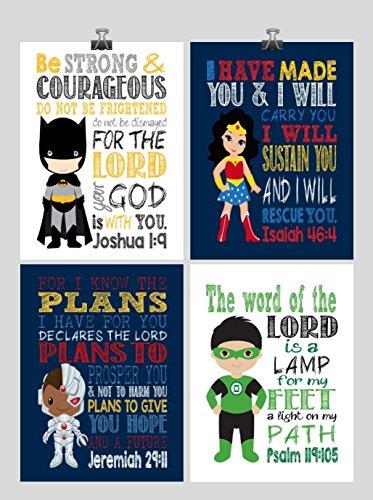 Justice League Christian Superhero Nursery Decor Art Print Set of 4 -Batman, Wonder Woman, Cyborg and Green Lantern - Multiple (Cyborg Lamp)