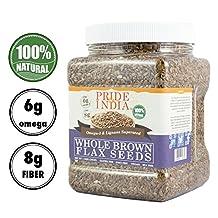 Pride Of India - Brown Flax Seed Omega-3 & Lignan Superfood, 1.5 Pound Jar