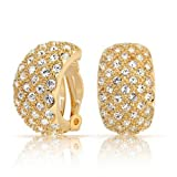 Half Hoop Clip On Earrings Two Tone Clear and Gold Crystal Gold Plated Brass