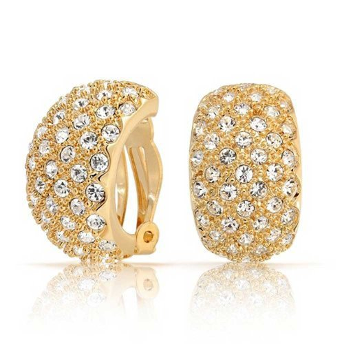 - Pave Crystal Wide Dome Basket Weave Half Hoop Clip On Earrings For Women Non Pierced Ears 14K Gold Tone Plated Brass