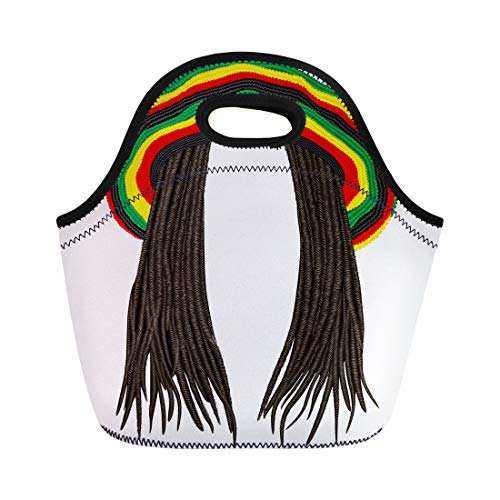 Semtomn Lunch Tote Bag Colorful Jamaican Rasta Hat Hair Dreadlocks Reggae Funny Avatar Reusable Neoprene Insulated Thermal Outdoor Picnic Lunchbox for Men Women