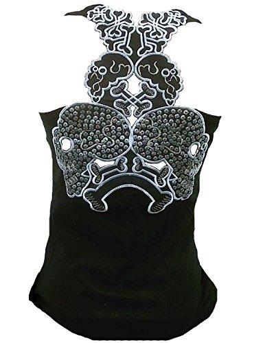 Rockabilly Punk Rock Baby Femme Noir Étui Débardeur pour homme Big Tiki crâne noir paillettes Bling Bling Sticker design édition spéciale