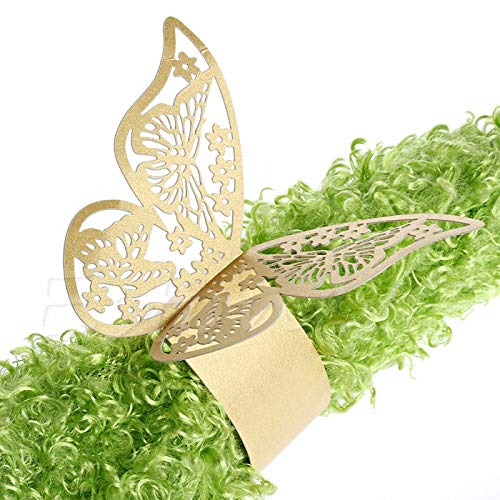 Best. Lovely 50Pieces/Lot Butterfly Style Laser Cut Porta Guardanapo Paper Napkin Rings