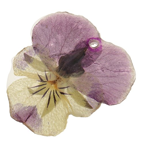 Jili Online Pansy Epoxy Resin Real Dried Flower Pendant Charms for Jewelry Making DIY Necklace Earring w/Hole ()