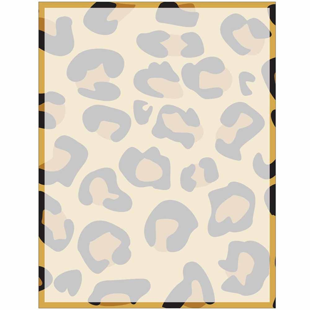 Full Modern Leopard Print with Border Stationery Letter Paper - Wildlife Animal Theme Design - Gift - Business - Office - Party - School Supplies