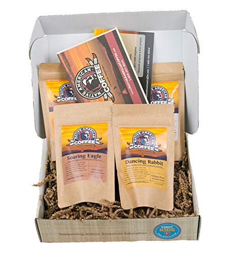 Native American Coffee | Gourmet Specialty Coffee Whole Bean Sampler | Fresh Roasted, Unique Coffees From All Over The World | Sample Four Coffee Selections in a Premium Gift Box | Roasted in USA
