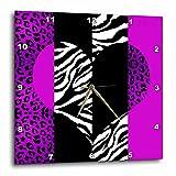 zebra print wall pics - Janna Salak Designs Purple Black/White Animal Print Leopard and Zebra Wall Clock, 10 by 10-Inch