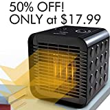 Houselog Desk Space Heater for Office and Home,Tip-Over & Overheat Protection,Hot & Natural Fan Adjustable,PTC Ceramic Personal Heaters Indoor Portable Tabletop or Under-Desk 750W/1500W,Black Review