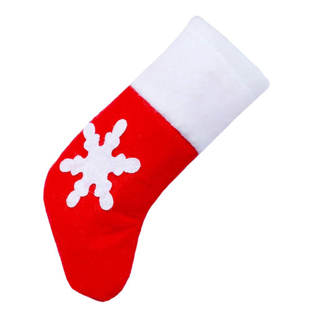 YaptheS Mini Christmas Socks Snowflake Decor Tableware Holder Cutlery Sets Fork Knife Bags Xmas Dinner Decoration