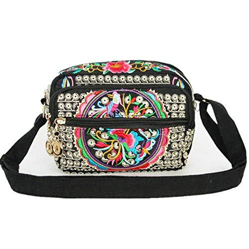 (Serstone Women Ethnic Embroidered Handmade Mini Canvas Bag Crossbody Shoulder Boho Travel Handbag Cell Phone Purse Wallet ? (Red), Small)
