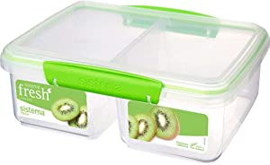 Sistema Fresh Collection Large Split Food Storage Container, 8.4 Cup, Clear/Lime Green