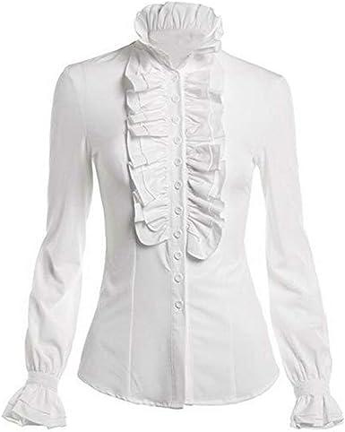 VOVOL Blusa estilo victoriano para mujer con cuello alto y ...