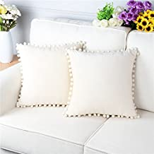 Top Finel Velvet Soft Decorative Throws Pillows Cushions Covers Luxury Square Pillowcase With Balls For Sofa Bed Pack of 2 18x18 Inch, Cream