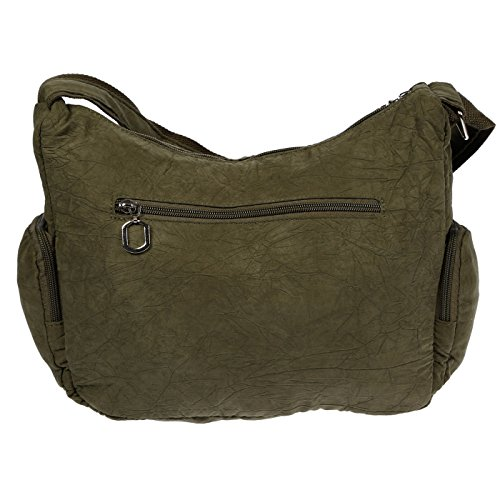 Christian Wippermann® - Bolso al hombro para mujer gris gris claro 31x24x11 cm verde