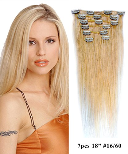 "Mike & Mary Full Head Human Hair Clip in Hair Extensions 18"" 70grm 7pcs Set with 16 Clips Straight Hair Extensions Human Hair (Honey Blonde/Platinum Blonde #16/60)"