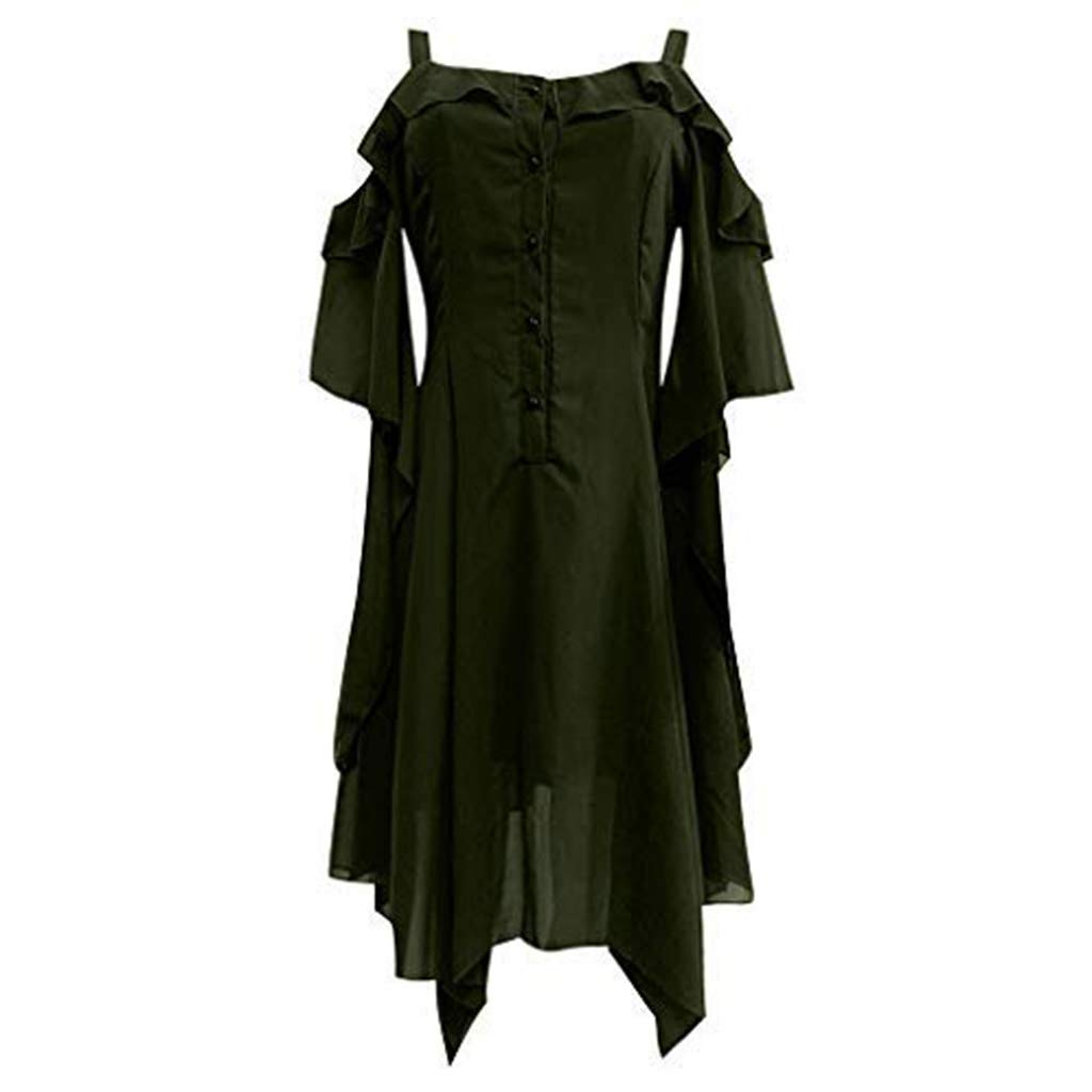 ☆HebeTop Women's Plus Size Gothic Dresses for Women Special Occasion Dark in Love Ruffle Sleeves Off Shoulder Midi Dress Green