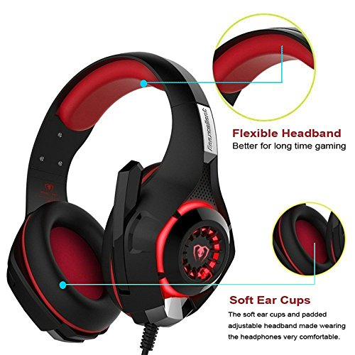 On Ear LED Lighting Gaming Headphone, Stereo Bass Wired Headset, Rotary Folding Headphones (with Mic) for Xbox one/PS4/Wii U/PC/Laptop/Mac/iPad/iPod Electro Voice Headphones