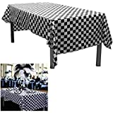 """6 Black And White Checkered Plastic Tablecloths. Measures 54"""" X 108"""". Disposable Plastic Party Table Covers - Racing Party Decoration. Each Table Cover Is Individually Packaged For Later Use."""