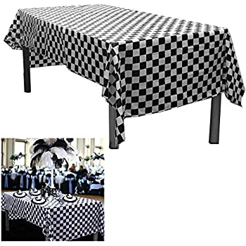 Great 6 Black And White Checkered Plastic Tablecloths. Measures 54 Part 23
