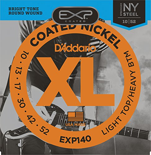 (D'Addario EXP140 Coated Electric Guitar Strings, Light Top/Heavy Bottom, 10-52)