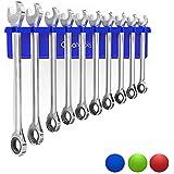 "Olsa Tools Magnetic Wrench Holder Organizer | Fits SAE 3/8"" Thru 15/16"" & Metric 10mm Thru 19mm | Premium Quality Tool Organizer (Blue)"